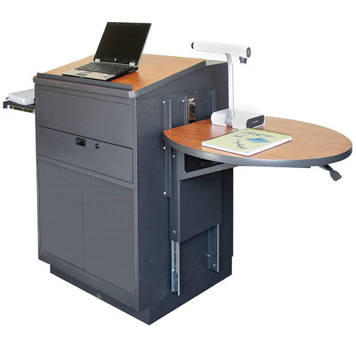 Marvel Vizion Stationary Media Center with Lectern, Steel Doors and Adjustable Platform (Cherry Laminate)