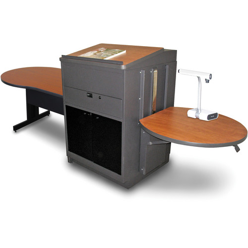 "Marvel Vizion Keyhole Table with Media Center and Lectern (48"", Acrylic Doors, Cherry Laminate)"