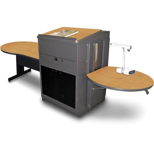 "Marvel Vizion Keyhole Table with Media Center and Lectern (48"", Acrylic Doors, Oak Laminate)"