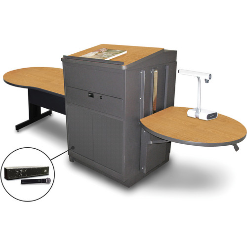 """Marvel Vizion Keyhole Table with Media Center, Lectern, and AmpliVox Handheld Microphone (48"""", Steel Doors, Oak Laminate)"""