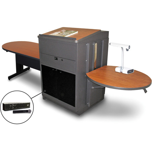"""Marvel Vizion Peninsula Table with Media Center, Lectern, and AmpliVox Handheld Microphone (48"""", Acrylic Doors, Cherry Laminate)"""