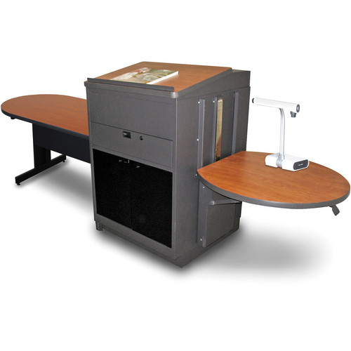 "Marvel Vizion Peninsula Table with Media Center and Lectern (48"", Acrylic Doors, Cherry Laminate)"
