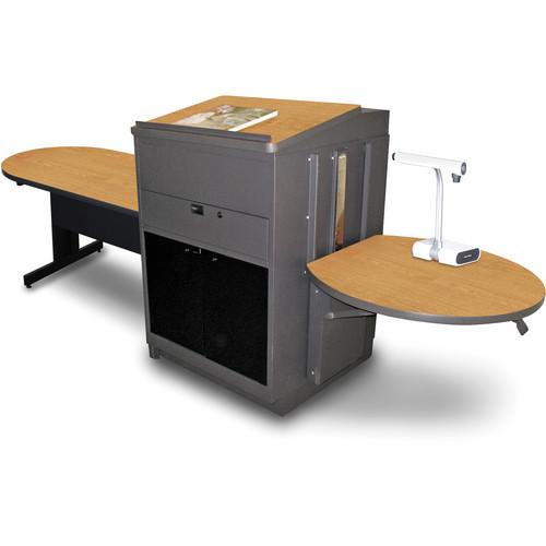 "Marvel Vizion Peninsula Table with Media Center and Lectern (48"", Acrylic Doors, Oak Laminate)"