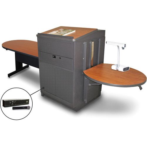 "Marvel Vizion Peninsula Table with Media Center, Lectern, and AmpliVox Handheld Microphone (48"", Steel Doors, Cherry Laminate)"