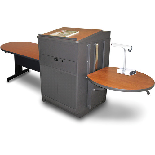 """Marvel Vizion Peninsula Table with Media Center and Lectern (48"""", Steel Doors, Cherry Laminate)"""