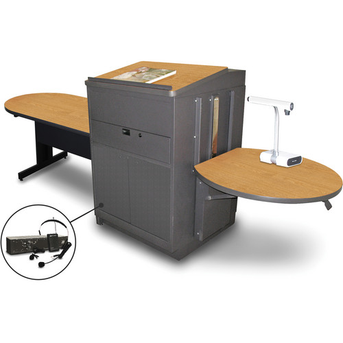 """Marvel Vizion Peninsula Table with Media Center, Lectern, and AmpliVox Headset Microphone (48"""", Steel Doors, Oak Laminate)"""
