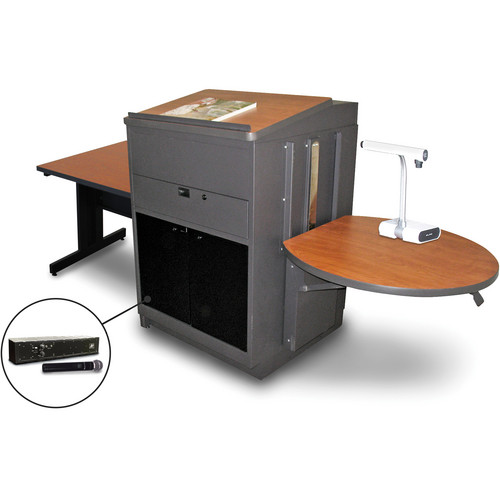 """Marvel Vizion Rectangular Table with Media Center, Lectern, and AmpliVox Handheld Microphone (36"""", Acrylic Doors, Cherry Laminate)"""