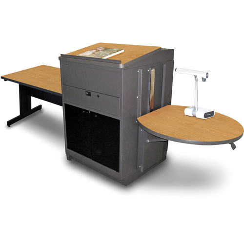 "Marvel Vizion Rectangular Table with Media Center and Lectern (48"", Acrylic Doors, Oak Laminate)"