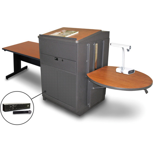 """Marvel Vizion Rectangular Table with Media Center, Lectern, and AmpliVox Handheld Microphone (48"""", Steel Doors, Cherry Laminate)"""