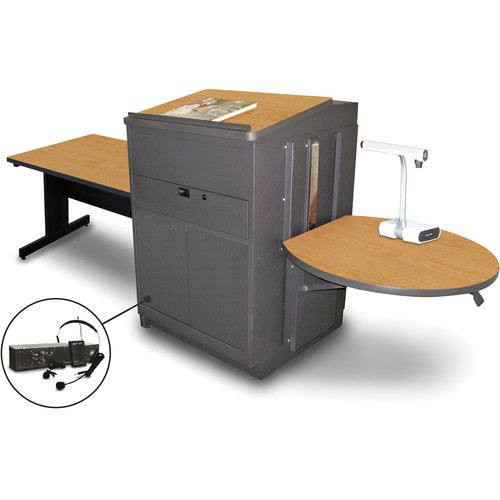 "Marvel Vizion Rectangular Table with Media Center, Lectern, and AmpliVox Headset Microphone (48"", Steel Doors, Oak Laminate)"