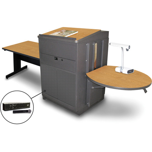 "Marvel Vizion Rectangular Table with Media Center, Lectern, and AmpliVox Handheld Microphone (48"", Steel Doors, Oak Laminate)"