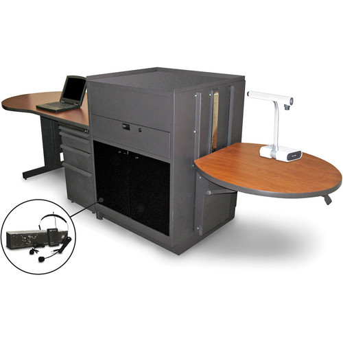 Marvel Vizion Stationary Teacher's Desk with Adjustable Platform, Acrylic Doors, and Over-Ear Microphone (Cherry Laminate)