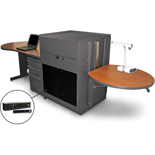 Marvel Vizion Stationary Teacher's Desk with Adjustable Platform, Acrylic Doors, and Handheld Microphone (Cherry Laminate)