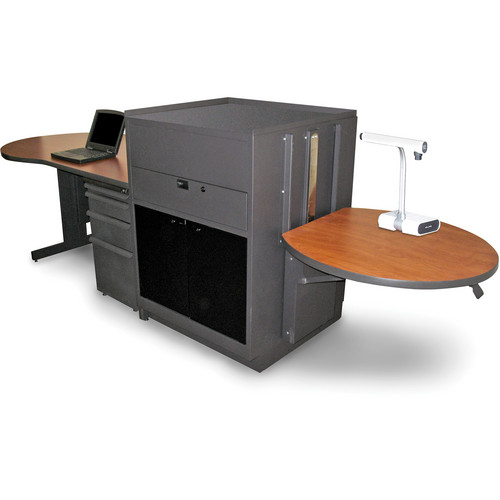 Marvel Vizion Stationary Teacher's Desk with Adjustable Platform and Acrylic Doors (Cherry Laminate)