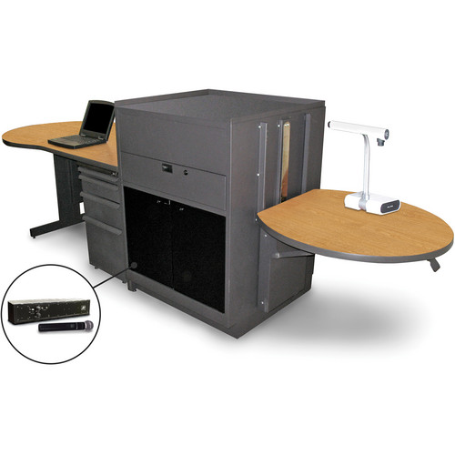 Marvel Vizion Stationary Teacher's Desk with Adjustable Platform, Acrylic Doors, and Handheld Microphone (Oak Laminate)