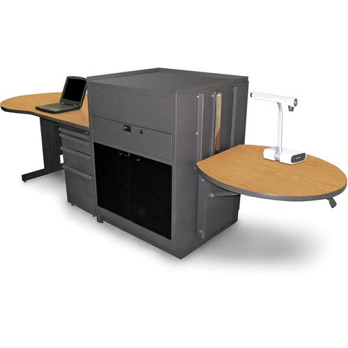 Marvel Vizion Stationary Teacher's Desk with Adjustable Platform and Acrylic Doors (Oak Laminate)