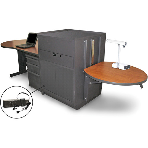 Marvel Vizion Stationary Teacher's Desk with Adjustable Platform, Steel Doors, and Over-Ear Microphone (Cherry Laminate)