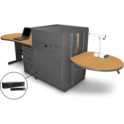 Marvel Vizion Stationary Teacher's Desk with Adjustable Platform, Steel Doors, and Handheld Microphone (Oak Laminate)