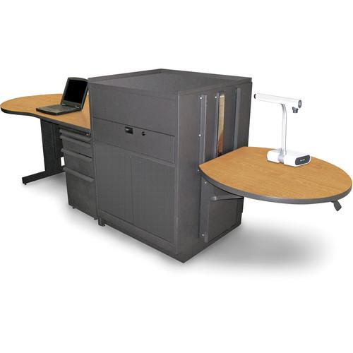 Marvel Vizion Stationary Teacher's Desk with Adjustable Platform and Steel Doors (Oak Laminate)