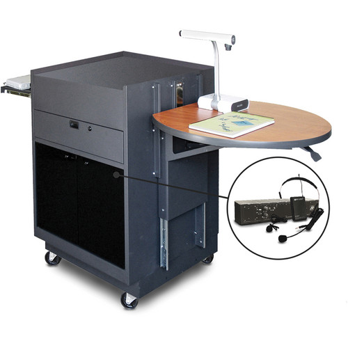 Marvel Vizion Media Center Cart with Acrylic Doors, Adjustable Platform, and AmpliVox Wireless Over-Ear/Headset Microphone (Cherry Laminate)