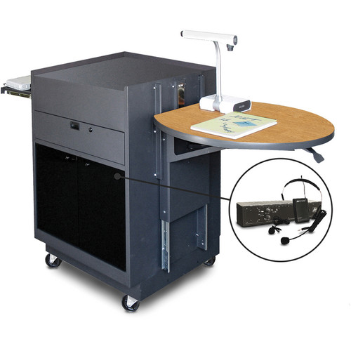 Marvel Vizion Media Center Cart with Acrylic Doors, Adjustable Platform, and AmpliVox Wireless Over-Ear/Headset Microphone (Oak Laminate)