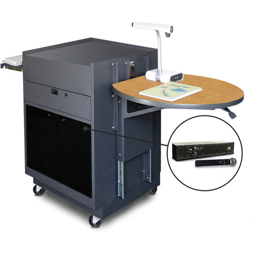 Marvel Vizion Media Center Cart with Acrylic Doors, Adjustable Platform, and AmpliVox Handheld Wireless Microphone (Oak Laminate)