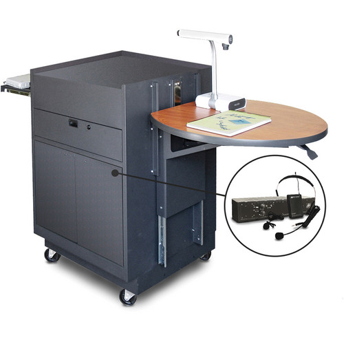 Marvel Vizion Media Center Cart with Steel Doors, Adjustable Platform, and AmpliVox Wireless Over-Ear Microphone (Cherry Laminate)