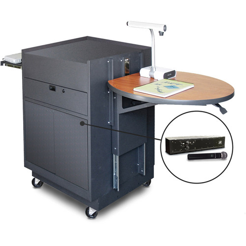 Marvel Vizion Media Center Cart with Steel Doors, Adjustable Platform, and AmpliVox Wireless Handheld Microphone (Cherry Laminate)