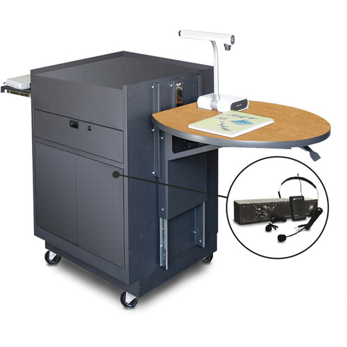 Marvel Vizion Media Center Cart with Steel Doors, Adjustable Platform, and AmpliVox Wireless Over-Ear Microphone (Oak Laminate)