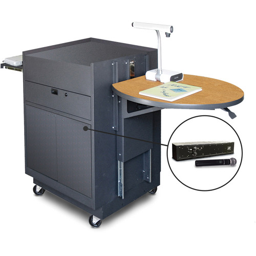 Marvel Vizion Media Center Cart with Steel Doors, Adjustable Platform, and AmpliVox Wireless Handheld Microphone (Oak Laminate)
