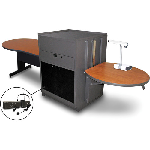 """Marvel Vizion Keyhole Table with Media Center and AmpliVox Headset Microphone (48"""", Acrylic Doors, Cherry Laminate)"""