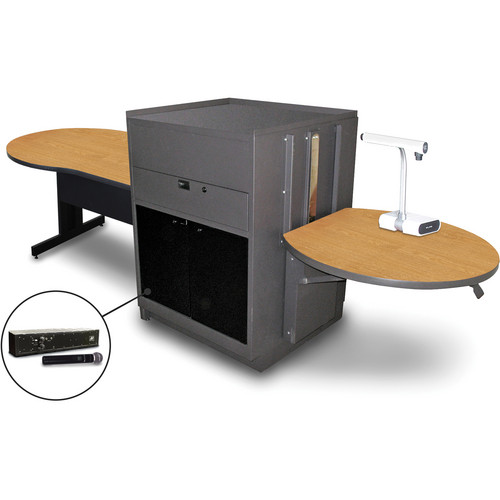 "Marvel Vizion Keyhole Table with Media Center and AmpliVox Handheld Microphone (48"", Acrylic Doors, Oak Laminate)"