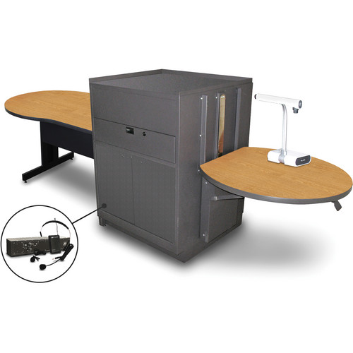 "Marvel Vizion Keyhole Table with Media Center and AmpliVox Headset Microphone (48"", Steel Doors, Oak Laminate)"