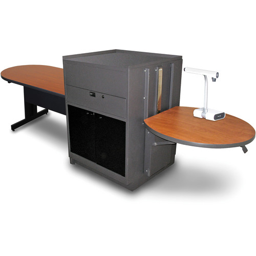 "Marvel Vizion Peninsula Table with Media Center (48"", Acrylic Doors, Cherry Laminate)"