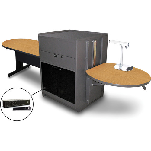 "Marvel Vizion Peninsula Table with Media Center and AmpliVox Handheld Microphone (48"", Acrylic Doors, Oak Laminate)"