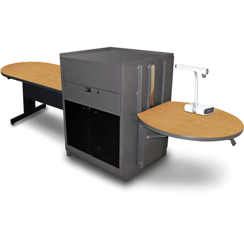 "Marvel Vizion Peninsula Table with Media Center (48"", Acrylic Doors, Oak Laminate)"