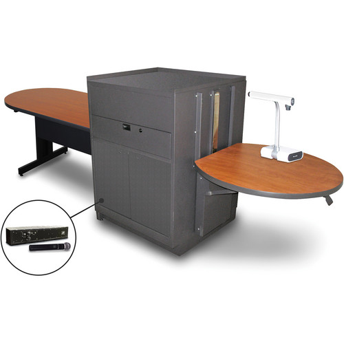 "Marvel Vizion Peninsula Table with Media Center and AmpliVox Handheld Microphone (48"", Steel Doors, Cherry Laminate)"