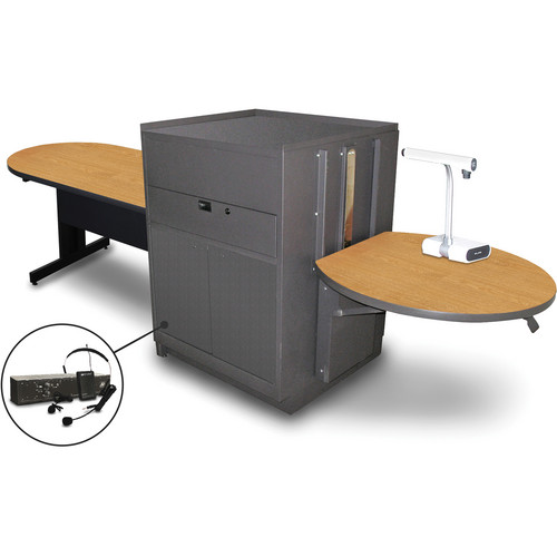 "Marvel Vizion Peninsula Table with Media Center and AmpliVox Headset Microphone (48"", Steel Doors, Oak Laminate)"