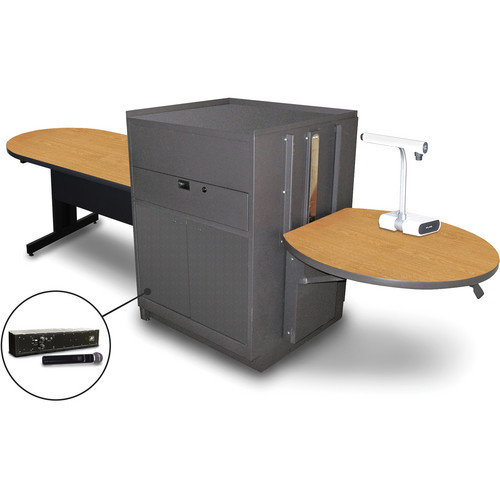 "Marvel Vizion Peninsula Table with Media Center and AmpliVox Handheld Microphone (48"", Steel Doors, Oak Laminate)"