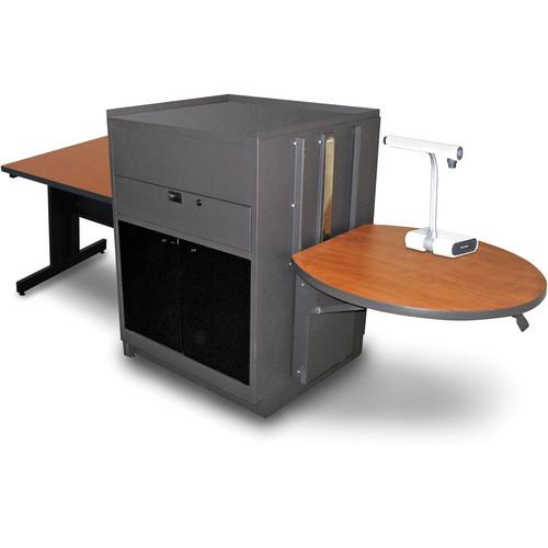 "Marvel Vizion Rectangular Table with Media Center (36"", Acrylic Doors, Cherry Laminate)"