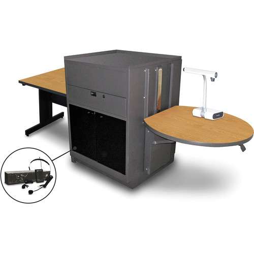 "Marvel Vizion Rectangular Table with Media Center and AmpliVox Headset Microphone (36"", Acrylic Doors, Oak Laminate)"