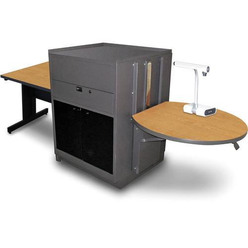 "Marvel Vizion Rectangular Table with Media Center (36"", Acrylic Doors, Oak Laminate)"