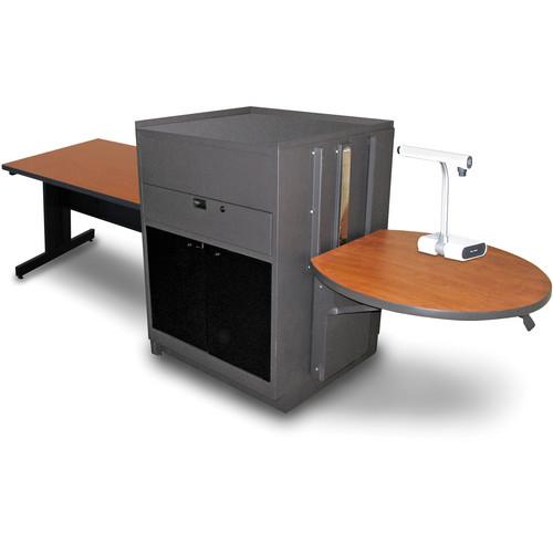 "Marvel Vizion Rectangular Table with Media Center (48"", Acrylic Doors, Cherry Laminate)"