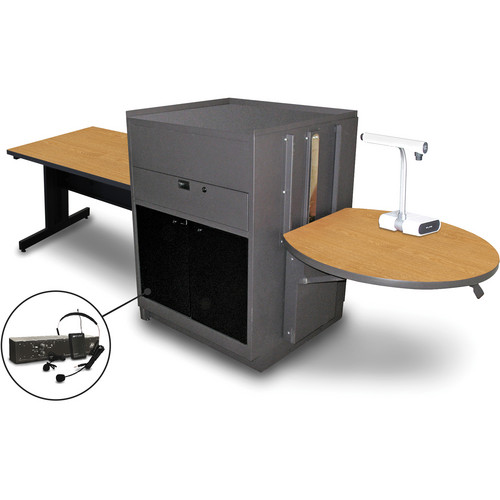 "Marvel Vizion Rectangular Table with Media Center and AmpliVox Headset Microphone (48"", Acrylic Doors, Oak Laminate)"