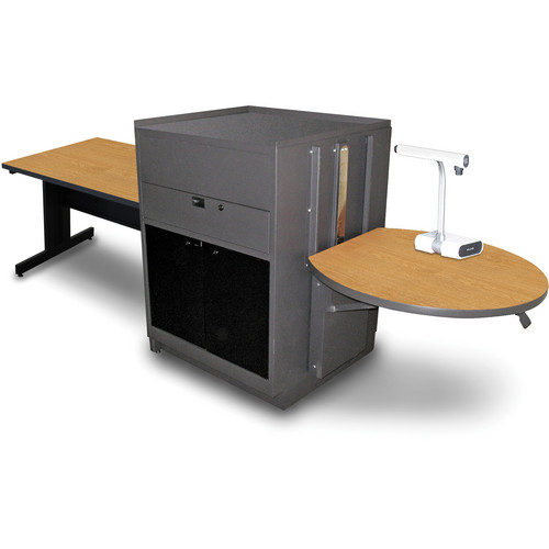 "Marvel Vizion Rectangular Table with Media Center (48"", Acrylic Doors, Oak Laminate)"