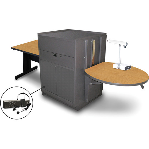 "Marvel Vizion Rectangular Table with Media Center and AmpliVox Headset Microphone (36"", Steel Doors, Oak Laminate)"