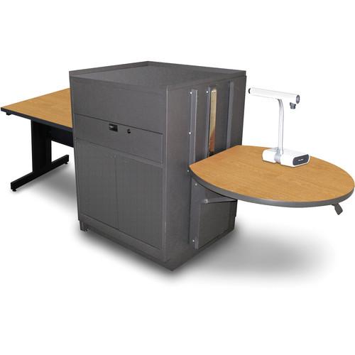 "Marvel Vizion Rectangular Table with Media Center (36"", Steel Doors, Oak Laminate)"