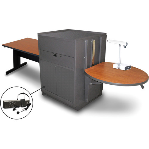 """Marvel Vizion Rectangular Table with Media Center and AmpliVox Headset Microphone (48"""", Steel Doors, Cherry Laminate)"""