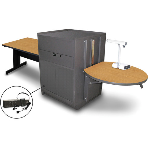 "Marvel Vizion Rectangular Table with Media Center and AmpliVox Headset Microphone (48"", Steel Doors, Oak Laminate)"