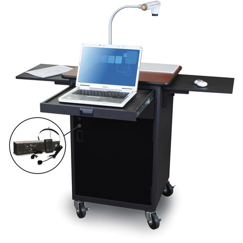 Marvel Vizion Mobile Presentation Cart With Acrylic Door and Over-Ear Microphone (Cherry Laminate)